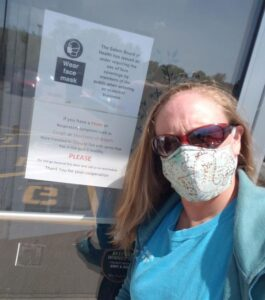 Person wearing mask during COVID-19 appointment
